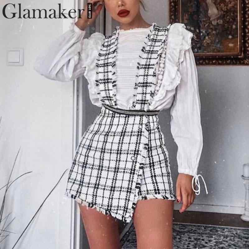 Glamaker משובץ גבוהה מותניים חצאית טוויד skort מכנסי חצאית סקסי כפתורי מועדון קצר חצאית נקבה שוליים אונליין מיני חצאית נשים bottoms