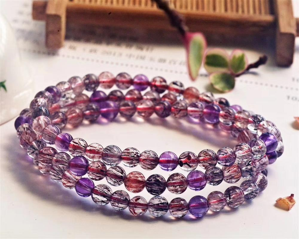 5.2mm Natural Super 7 Melody Stone Rutilated Quartz Bracelet Women Men Crystal Round Beads Jewelry 3 Laps Necklace AAAAA
