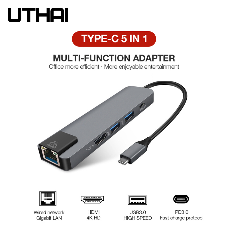 UTHAI J14 5 в 1 type C адаптер HDMI 4K гигабитный Nerwork конвертер для Macbook Pro Air PD Быстрая зарядка TF SD многокардридер