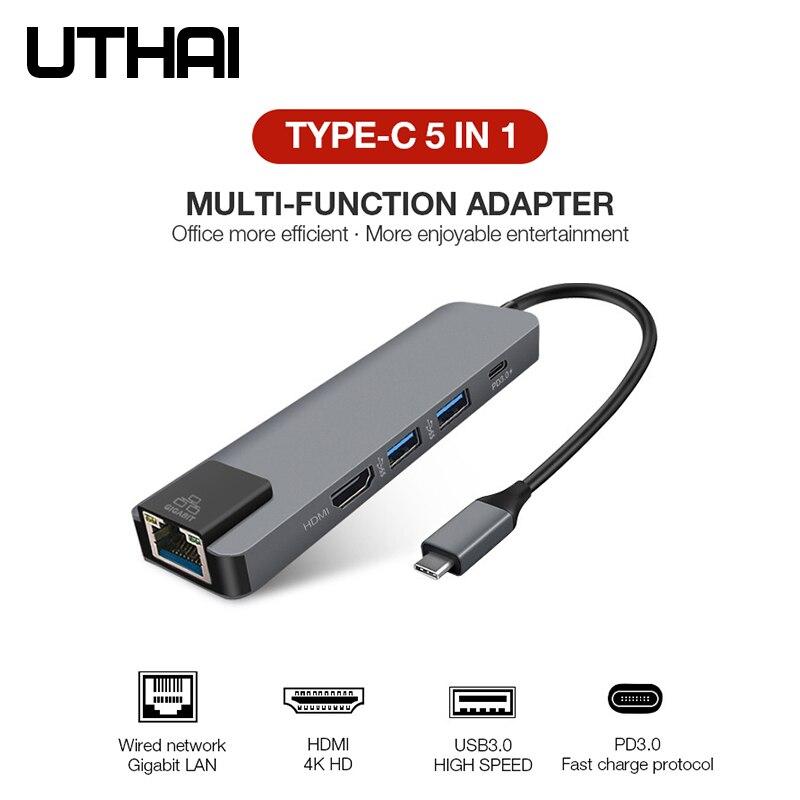 UTHAI J14 5in1 type-c adaptateur HDMI 4K Gigabit convertisseur de réseau pour Macbook Pro Air PD charge rapide TF SD lecteur de cartes multiples