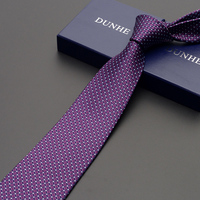 High Quality 2019 New Fashion Ties Men Formal Business 8cm Purple Silk Tie Wedding Ties for men Designers Brand with Gift Box