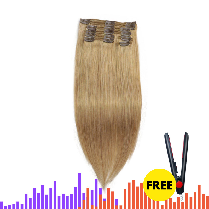 Isheeny Remy Clip In  Human Hair Extensions Piano Blonde Color 4# 27# Thick Double Weft Brazilian Hair Clip Ins Full Head Set