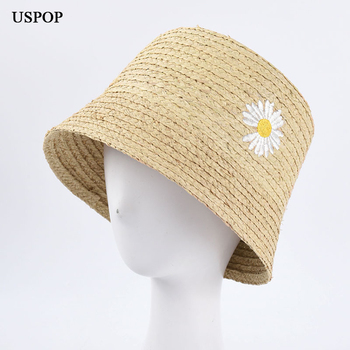 USPOP 2020 New women sun hats Embroidered daisy raffia straw fashion bucket summer