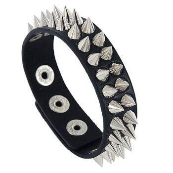 1 Uds., Cono de Metal Unisex, tachuelas, tachuelas, remaches de cuero PU, pulsera de motorista, puño ancho, pulsera de roca Punk, pulseras para mujer y hombre