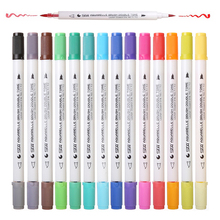 28 Colores Watercolor Marker art brush pen Dual Tips Set Water Soluble Products Color Soft Calligraphy aqua Pen Aquarelle