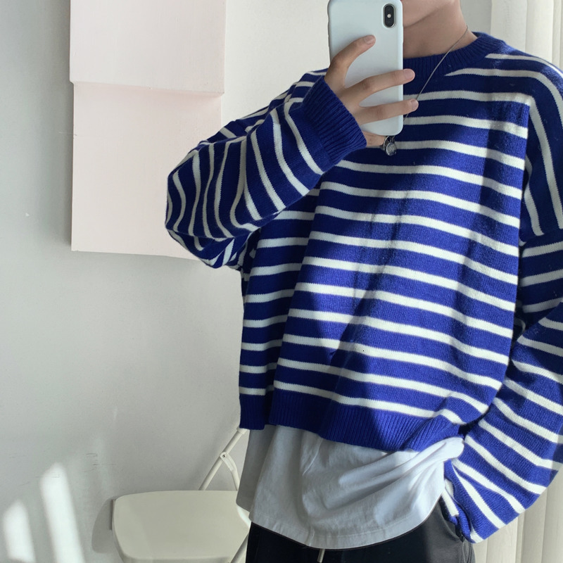 Winter Striped Sweater Men Warm Fashion Contrast Color Casual Knit Pullover Man Loose Long-sleeved Sweater Male Clothes M-XL