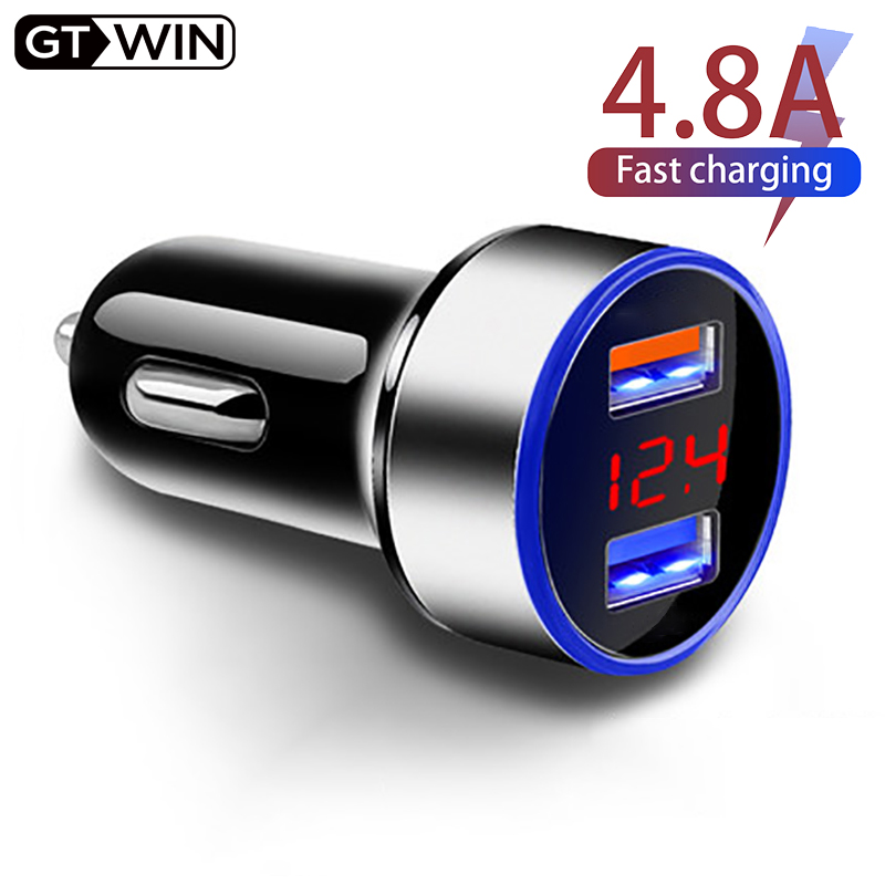 GTWIN 4.8A Car Charger Mobile Phone Fast Charging Adapter in Car with LED Display Quick Charge Dual USB Car Charger Universal(China)