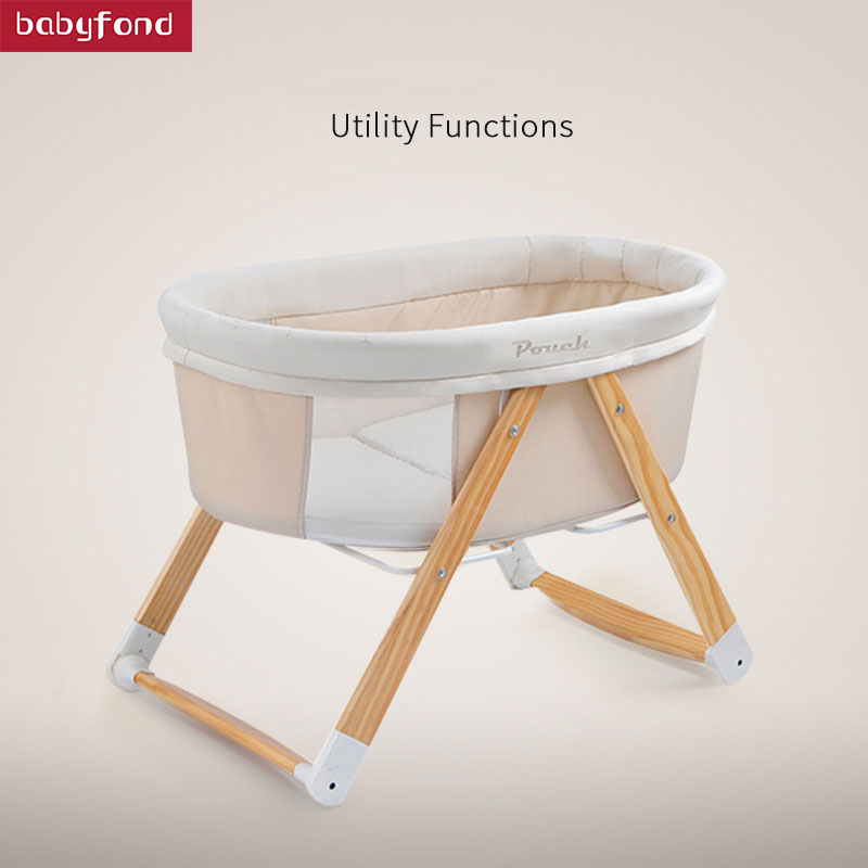 Pouch Baby Bed Solid Wood Baby Bed Eco-friendly Cradle Bed Multifunctional Portable Folding Travel Concentretor