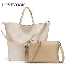 Женская сумка на плечо LOVEVOOK, набор сумок 2 шт большой емкости, складываемые мягкие сумки в руках из искусственной кожи, маленьная сумка через плечо
