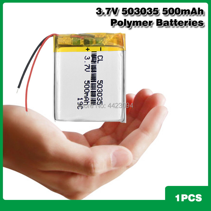<font><b>3.7V</b></font> <font><b>500mAh</b></font> <font><b>503035</b></font> Rechargeable Lithium Li-ion Li-po Polymer <font><b>Battery</b></font> For PSP PDA MP3 MP4 GPS Bluetooth Headset Speaker image
