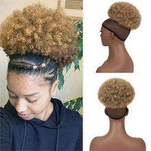 Hairpiece Bun Drawstring Ponytail Updo Afro-Puff Kinky-Curly-Chignon Synthetic-Hair Women