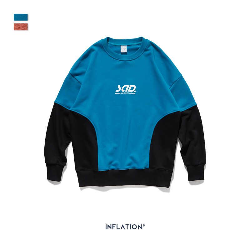 INFLATION DESIGN Men Sweatshirt Colour Block Trim Script Logo Men Sweatshirt Loose Fit Streetwear Style Mens Sweatshirt 9631W