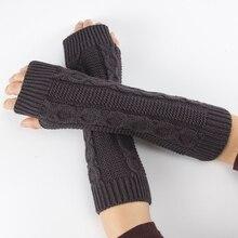 New Fashion Women Ladies Winter Casual Knitted Wrist Arm Hand Warmer Long Mitten Fingerless Gloves Black White Gray