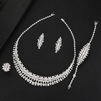 missvikki Luxury Women Bridal Wedding 4PCS Necklace Earrings Bracelet Ring Jewelry for Noble Engagement Jewelry Sets 2019 Hot