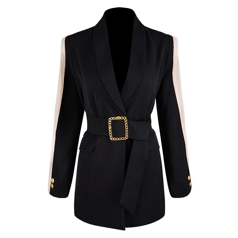 HIGH STREET Newest Fall Winter 2020 Designer Blazer Women's Shawl Collar Belt Blazer