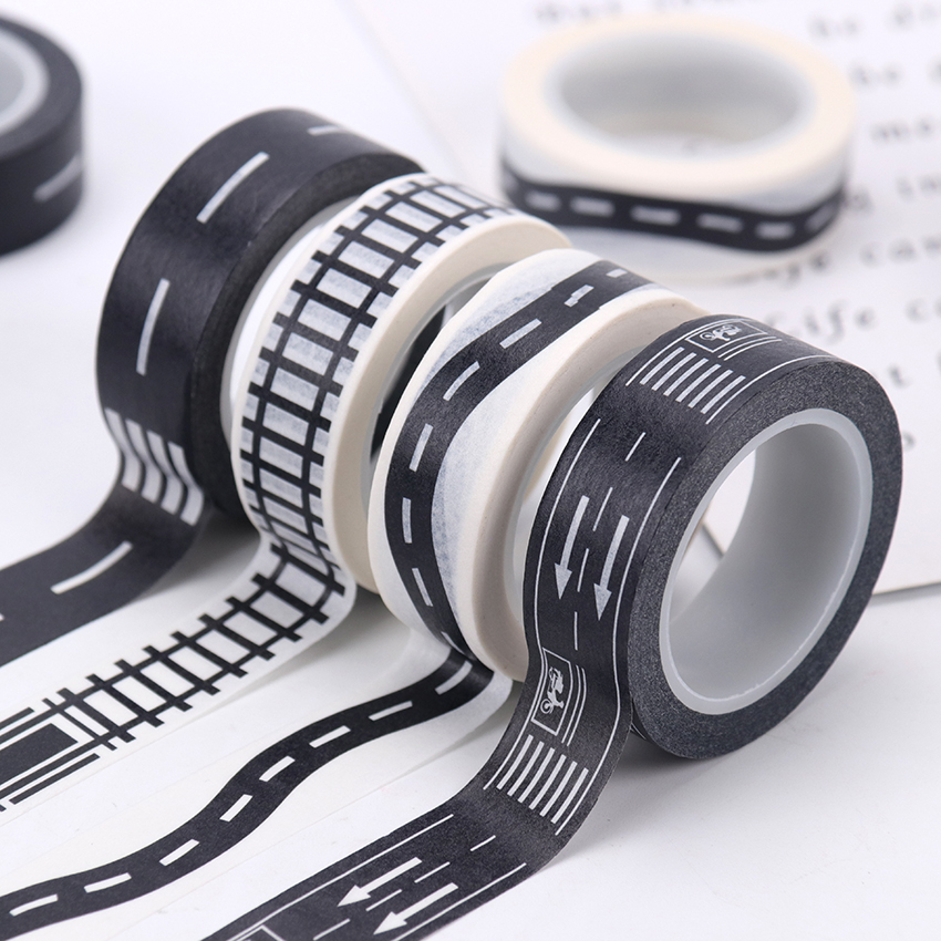 15mmX10m Railway Road Paper Tape Wide Creative Traffic Road Adhesive Masking Tape Road For Kids Toy Car Play