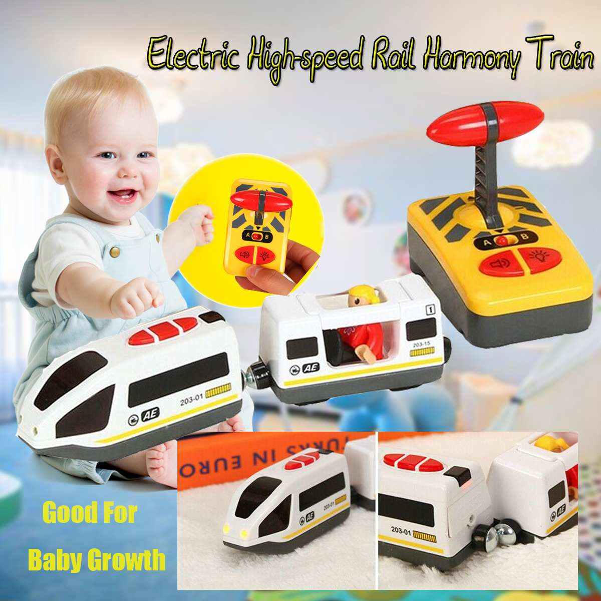 Remote Control Electric Train Toy Magnetic Slot Compatible With Wooden Track High-speed Vehicle RC Train Car Toy Kids Gift