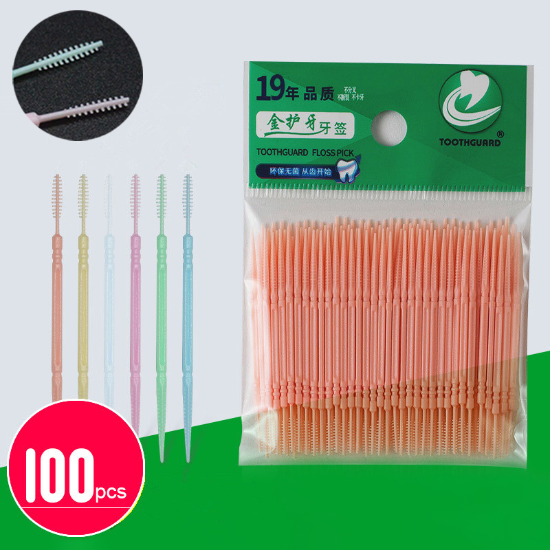 100pcs/box Double Head Dental Floss Interdental Toothpick Brush Brush Teeth Stick Dental Oral Care Toothpicks Floss Pick(China)