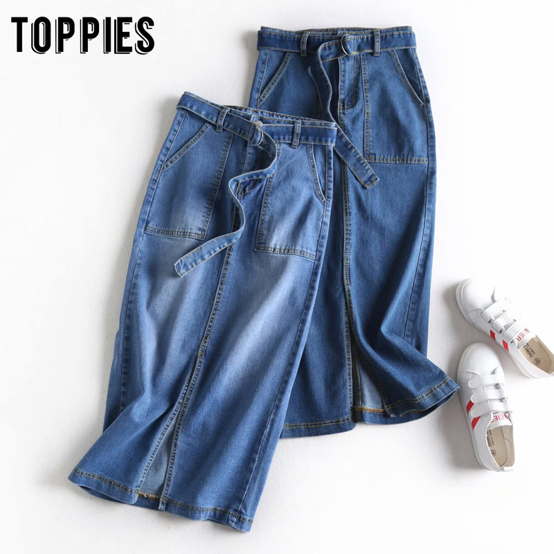Denim Skirts Womens High Waist Midi Pencil Skirts 2020 Spring Summer Streetwear Mid Split