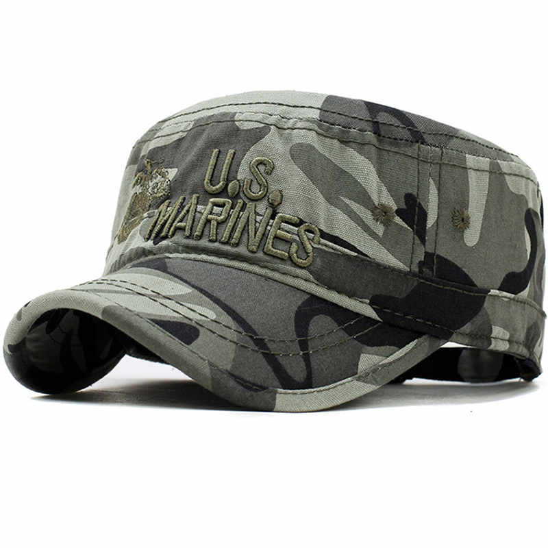 2019 United States US Marines Corps Cap Hat Military Hats Camouflage Flat Top Hat Men Cotton HHat USA Navy Embroidered Camo Hat