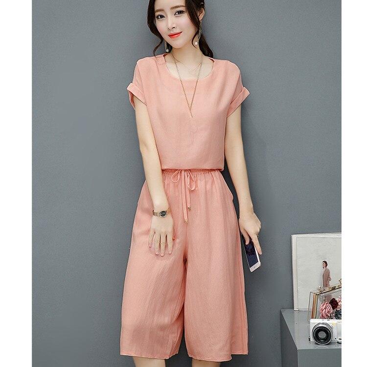 Women Cotton Linen Set Two Piece Set Bow Short Sleeve Tops Wide Leg Pants Plus Size Suits Large Size Loose Outfits