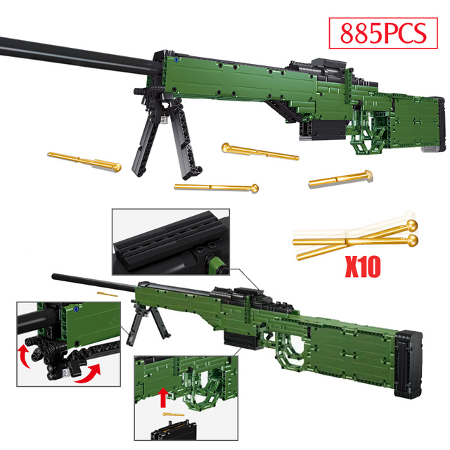 DIY WW2 Weapon Building Blocks Military AWM Technic Gun 98K Submachine Pistol Models City SWAT Police Bricks Toys for Children