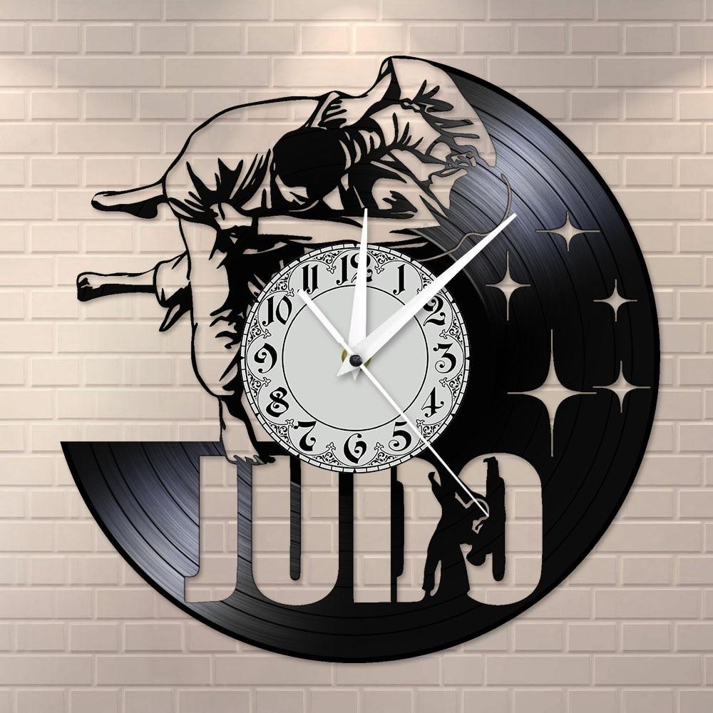 Japanese Martial Art Home Decor Judo Vinyl Record Wall Clock Jiu-Jitsu Frameless Silent Non ticking Wall Watch Judoka Gifts