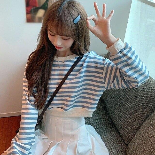 Фото женские футболки в стиле ретро полосатые топы с длинными рукавами