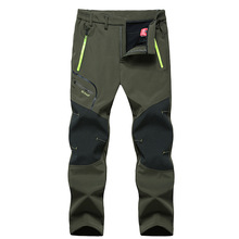 Autumn and winter outdoor trousers men's waterproof and windproof breathable fleece soft shell pants thick warm hiking pants