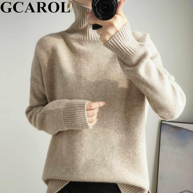 GCAROL ผู้หญิงแคชเมียร์เสื้อขนสัตว์ 30% หนา Minimalist OL JERSEY WARM Casual OVERSIZE ถักจัมเปอร์