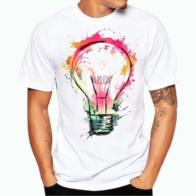 Summer Men The White Blouse Personality Printed Color Light Bulb Printing Short Sleeve T-shirt Casual Wear Men's T-shirt Tops
