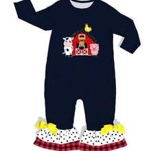 Die Farm Baby Schwarz Baumwolle Overall Mit Stickerei großhandel Säuglingsspiel Gestrickte Rüschen Baby Kleidung