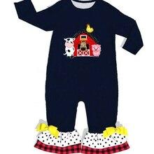 La granja bebé mono de algodón negro con bordado al por mayor infantil mamelucos de punto con volantes ropa de bebé