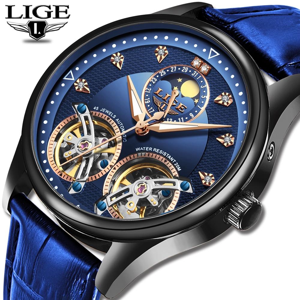 2020 LIGE Brand Men Watches Automatic Mechanical Watch Tourbillon Clock Leather Casual Business Retro Wristwatch Relojes Hombre