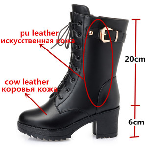 Image 3 - MORAZORA 2020 hot genuine leather boots women zip buckle warm sheep wool snow boots high heela winter platform ankle boots lady