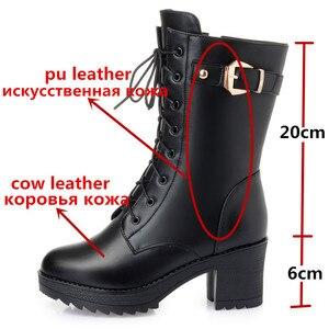 Image 3 - Morazora 2020 botas de couro genuíno quente mulheres zip fivela de lã de ovelha quente botas de neve alta heela inverno plataforma tornozelo botas senhora