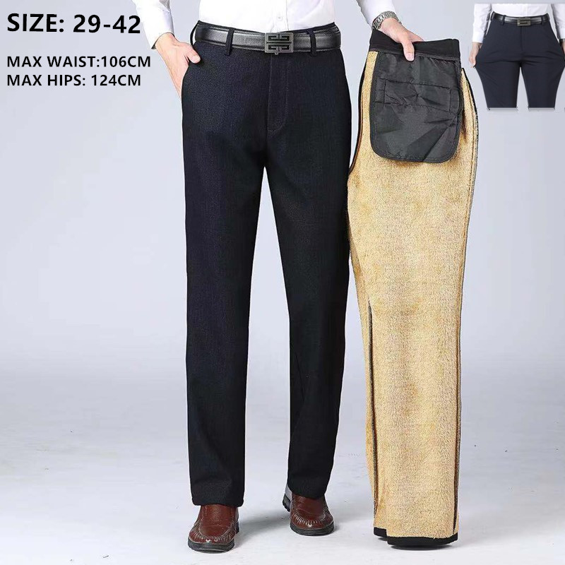 Winter Business Pants Men Straight Slim Fit Elastic High Waisted Thick Male Warm Trousers Plus Size 40 42 Stretch Office Pant