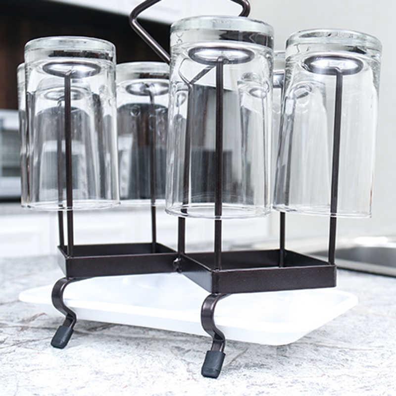6 כוסות ניקוז ידית מדפי להחליק הוכחת מטבח מדף ארון תליית מייבש אחסון ארגונית ייבוש זכוכית ספל תה ספלי מחזיקי