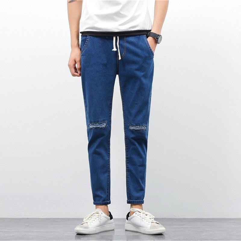 Trendy Pure Color Versatile Origional Knee With Holes Washing Slim Fit Pants MEN'S Jeans