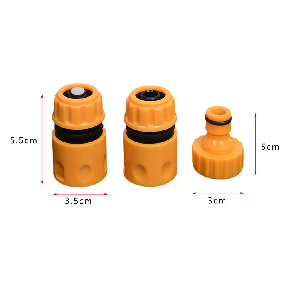 Купить с кэшбэком 3pcs/set Universal Garden Water Hose Pipe Fitting Set Yellow Water Hose Pipe Connector Adapter Garden Accessories