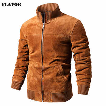 FLAVOR Men\'s Real Leather Jacket Men Pigskin Slim Fit Genuine Leather Coat With Rib Cuff Standing Collar