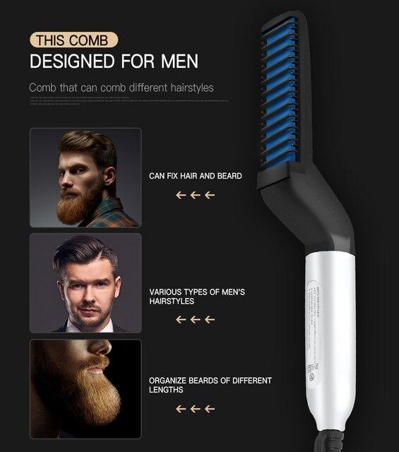 Multifunctional Hair Comb Brush Beard Straightener Hair Straighten Electric Beard Straightening Comb Quick Hair Styler For Men 2
