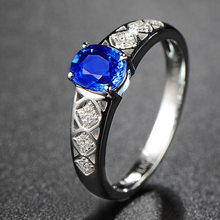 Natural Sapphire Ruby Ring For Women 925 Sterling Silver Blue/Red Gemstone Wedding Engagement Rings Silver 925 jewelry Gifts(China)