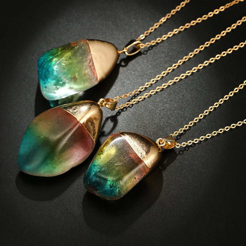 2019 New Natural Stone Necklace Transparent Colorful Crystal Pendant Bohemian Quartz Necklaces for Women