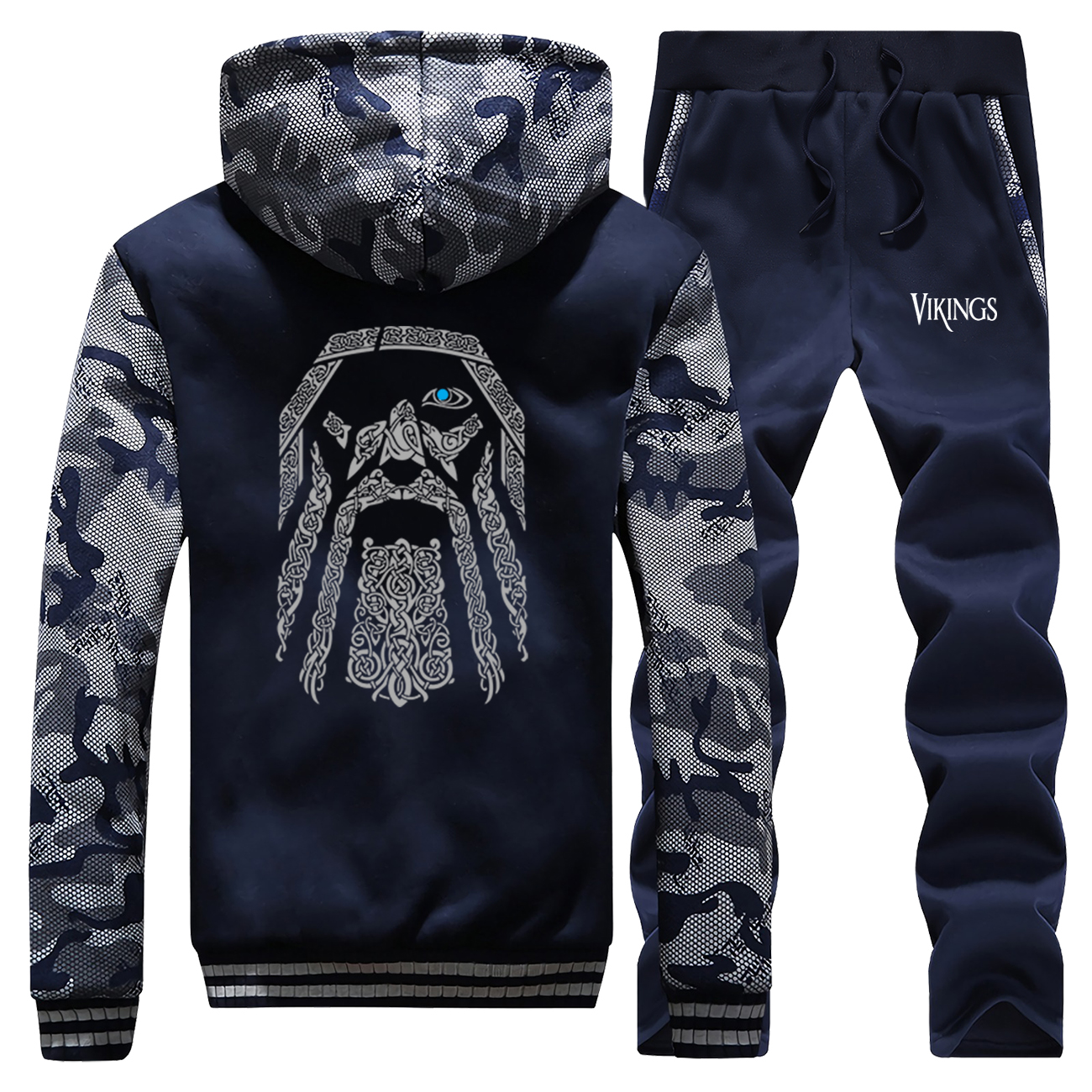 Odin Vikings Men Casual Gym Suit Fashion TV Show Camo Jackets Winter Warm Jacket Fleece Military Cool Men's Full Suit Tracksuit