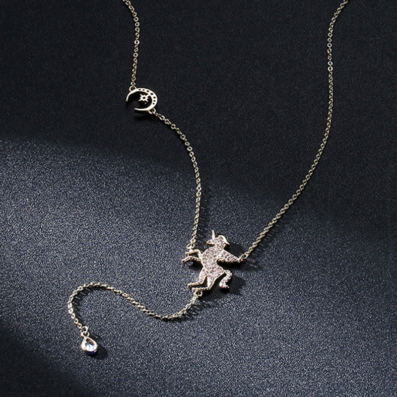 Popular New Unicorn Necklace Pendant Female Fashion Jewelry Exquisite Pegasus Jewelry Best Gift Clavicle Necklace Female Models in Pendant Necklaces from Jewelry Accessories