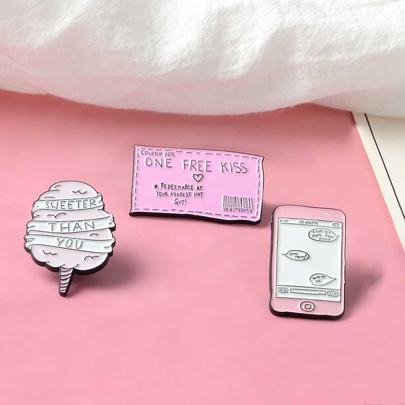 Raccolta di colore rosa Del Fumetto Della Caramella di Cotone Più dolce del Voi Il Trasporto Bacio Biglietto Messaggio Distintivo Dello Smalto Spille Risvolto Spilli Regalo Per L'amante