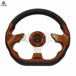 Waase 320mm uniwersalny PU Leather sporty wyścigowe Auto kierownica samochodu z przyciskiem klaksonu 12.5 cali drewniane