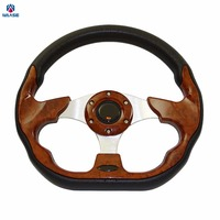 waase 320mm Universal PU Leather Racing Sports Auto Car Steering Wheel with Horn Button 12.5 inches Wooden