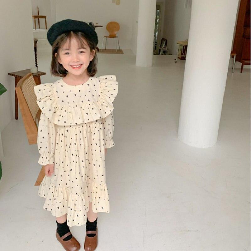 2021 Atumn New Arrival Girls Long Sleeve Heart Dress Kids Koreand Design Dresses  Kids Dresses for Girls 1